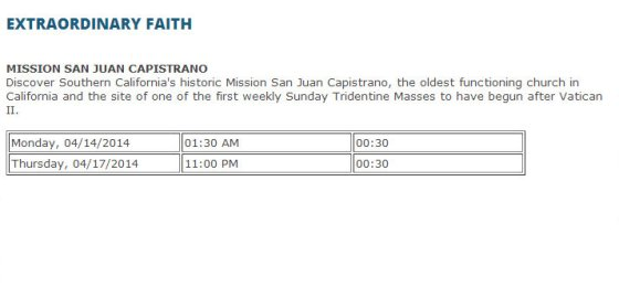Extraordinary Faith Schedule