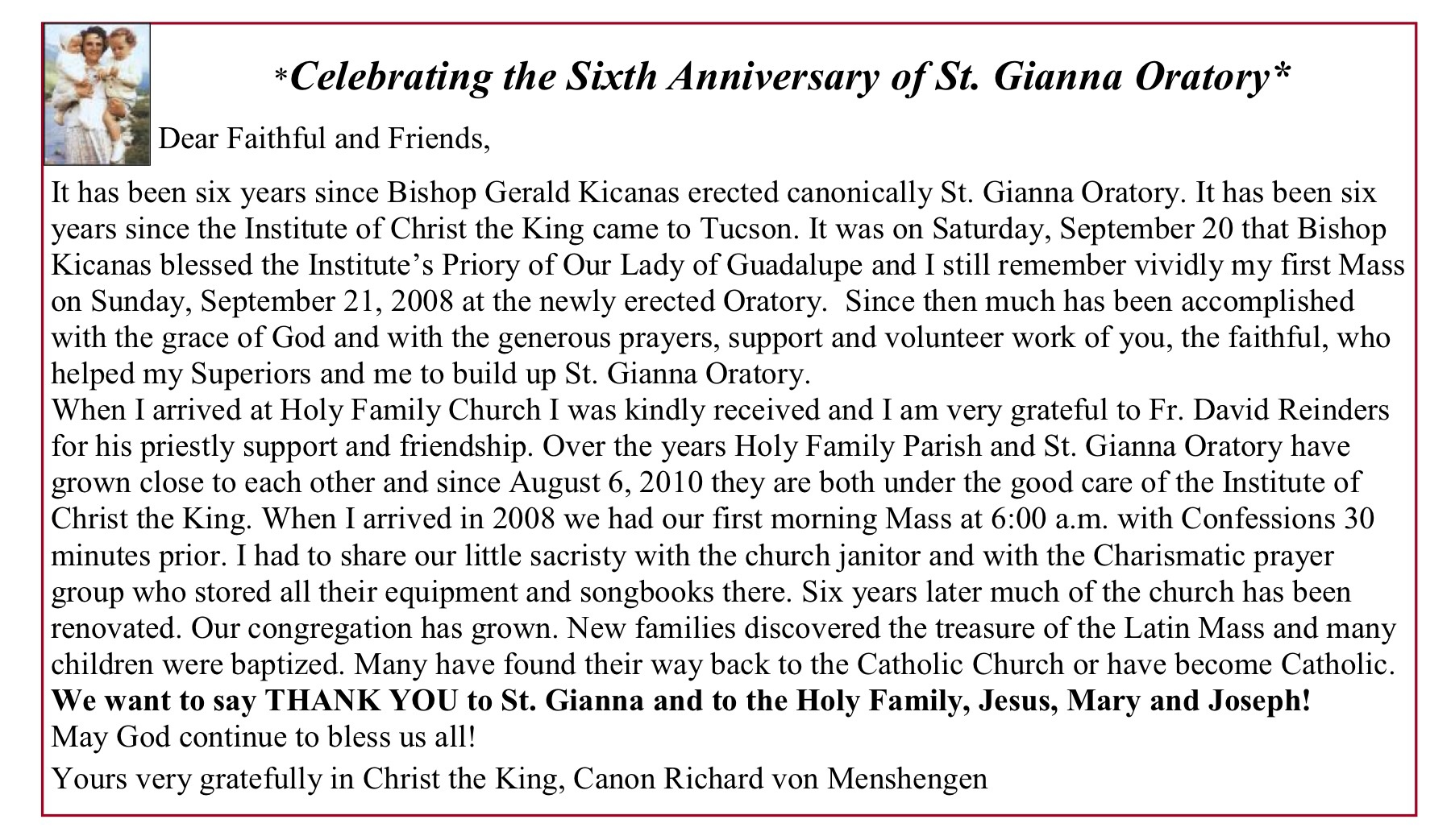 Happy Anniversary to St Gianna Oratory in Tucson!