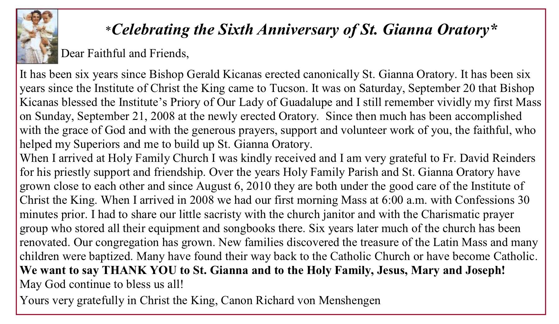 Happy Anniversary to St Gianna Oratory inTucson!