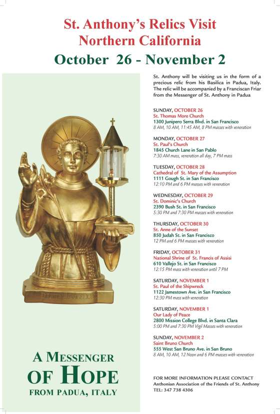 Reminder: St. Anthony's Relics Visit  – Northern California