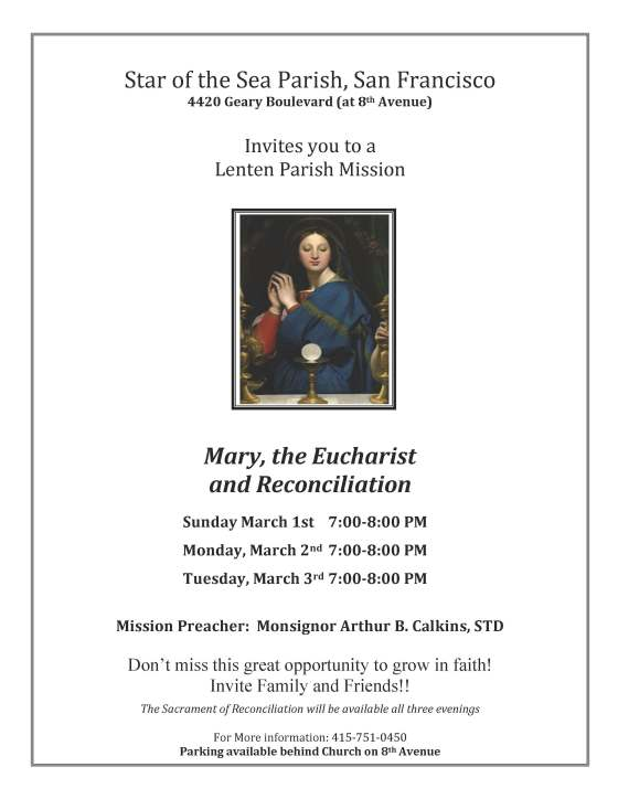 Star of the Sea Parish Lenten mission flyer mark