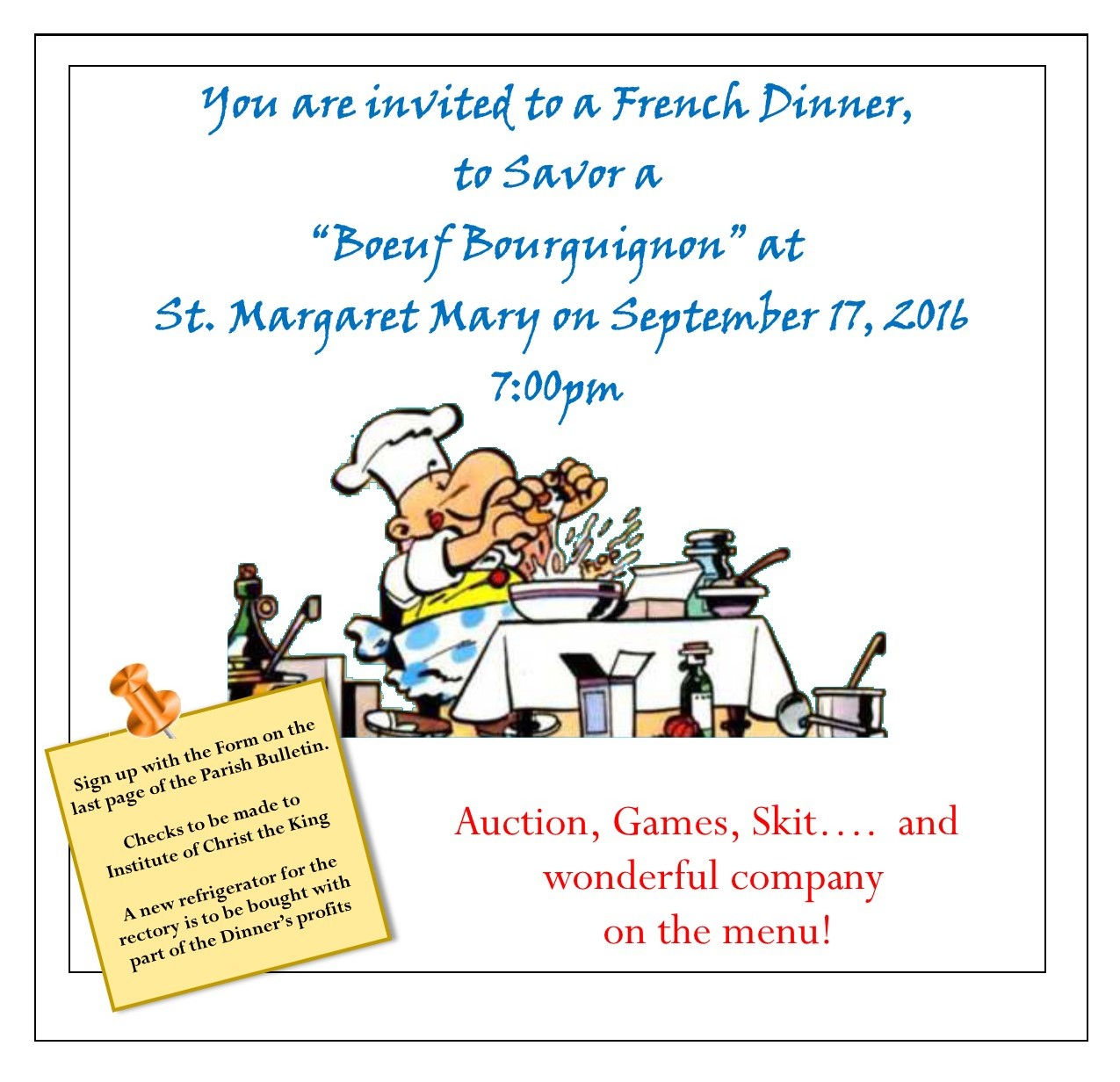 Join the ICKSP Oakland Apostolate for a Fundraising Dinner