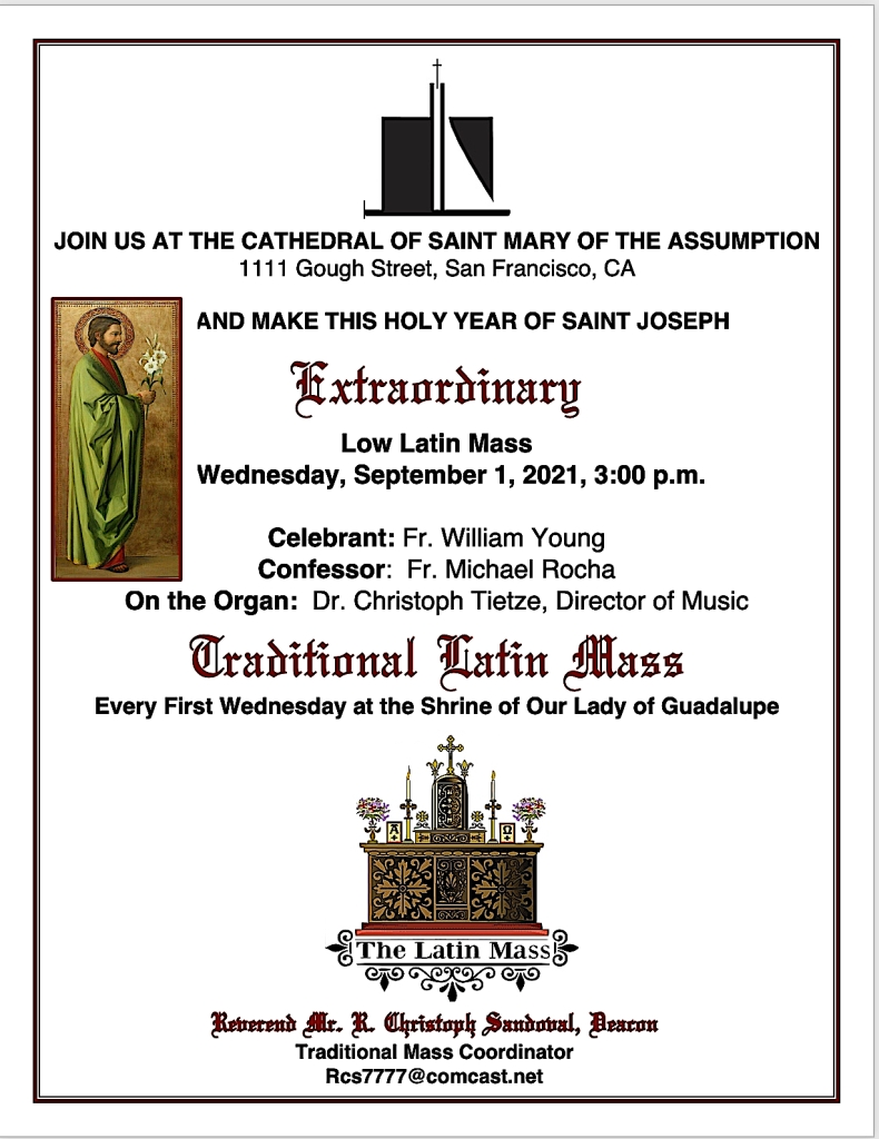 1st Wednesday Low Mass at St. Mary's Cathedral – September 1, 2021 (3PM)
